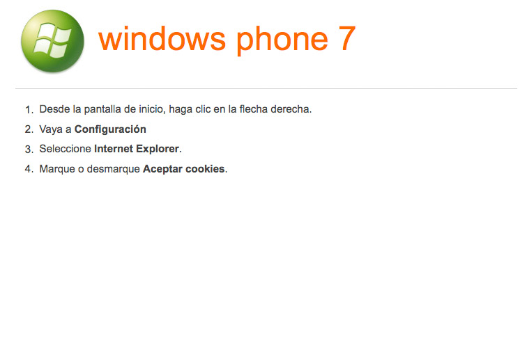 Activar-desactivar cookies en navegador para Windows Phone