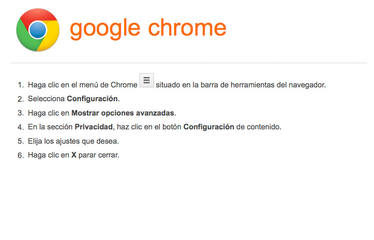 Activar-desactivar cookies en navegador Google Chrome