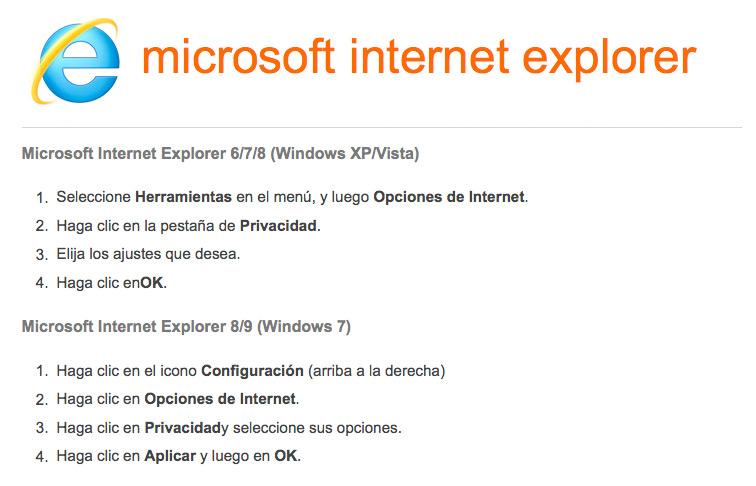 Activar-desactivar cookies en navegador Internet Explorer