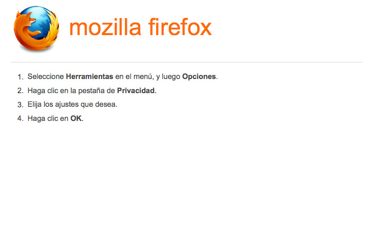 Activar-desactivar cookies en navegador Mozilla/Firefox
