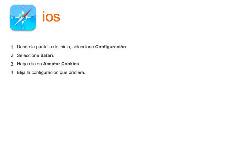 Activar-desactivar cookies en navegador para iOs