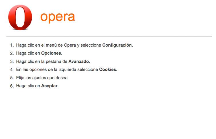 Activar-desactivar cookies en navegador Opera