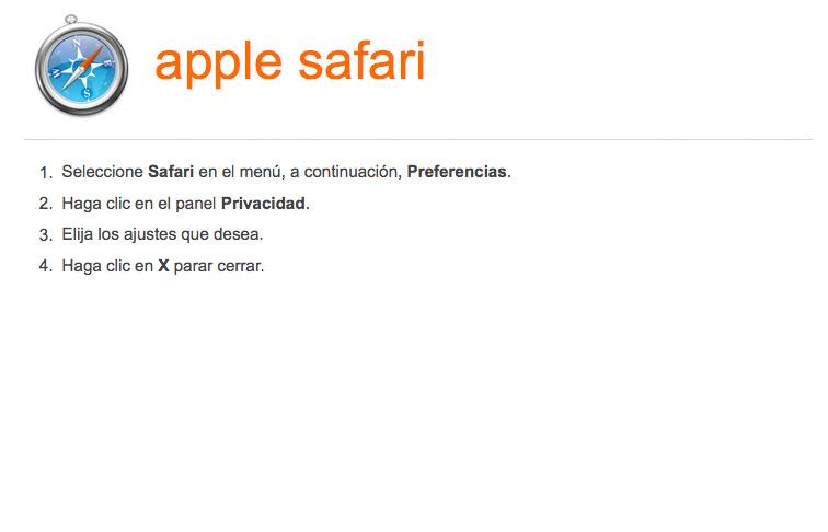 Activar-desactivar cookies en navegador Safari